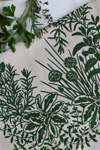 Herb Kitchen Towel in Leaf on Natural Linen