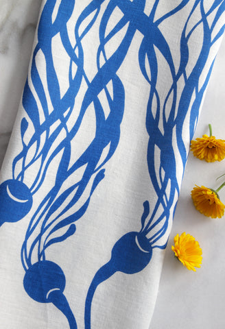 Kelp Kitchen Towel in Jaunty Blue on White Linen