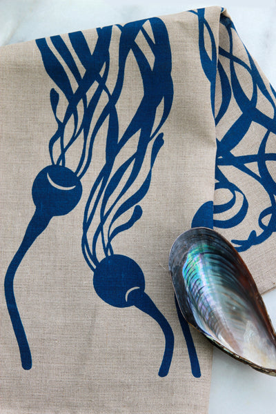 Kelp Kitchen Towel in Prussian Blue on Natural Linen