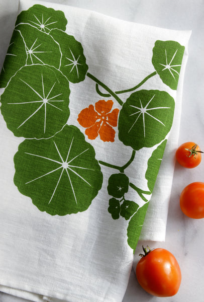 Nasturtium Kitchen Towel on White Linen