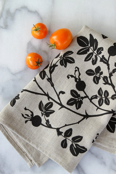 Nootka Rose Kitchen Towel in Black on Natural Linen