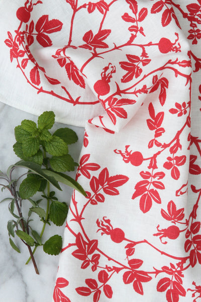 Nootka Rose Kitchen Towel in Posy Pink on White Linen