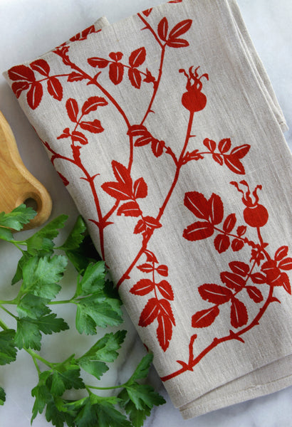 Nootka Rose Kitchen Towel in Red on Natural Linen