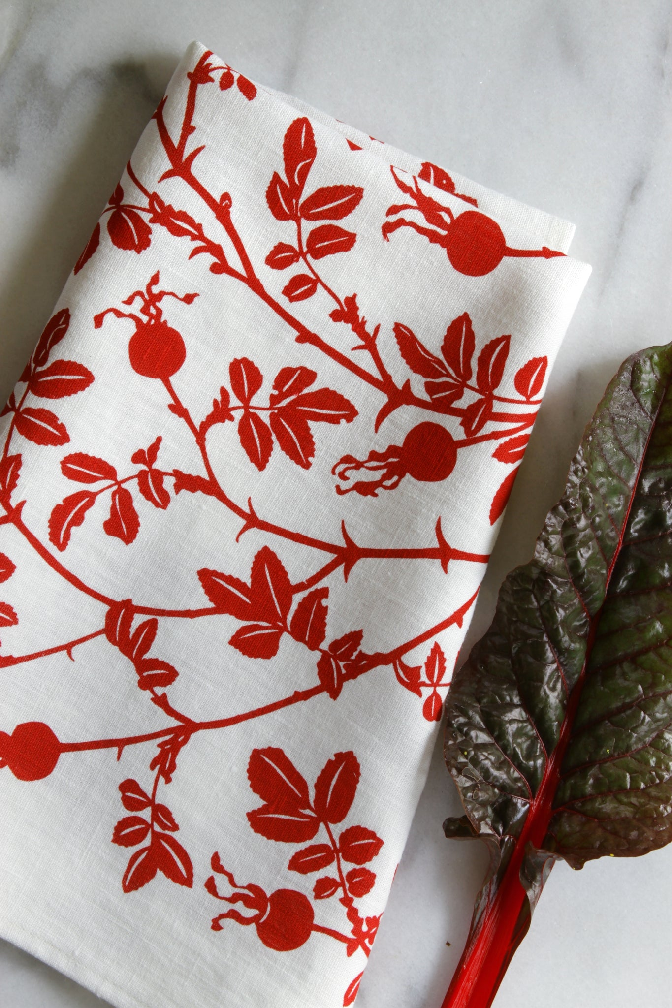 Nootka Rose Kitchen Towel in Red on White Linen
