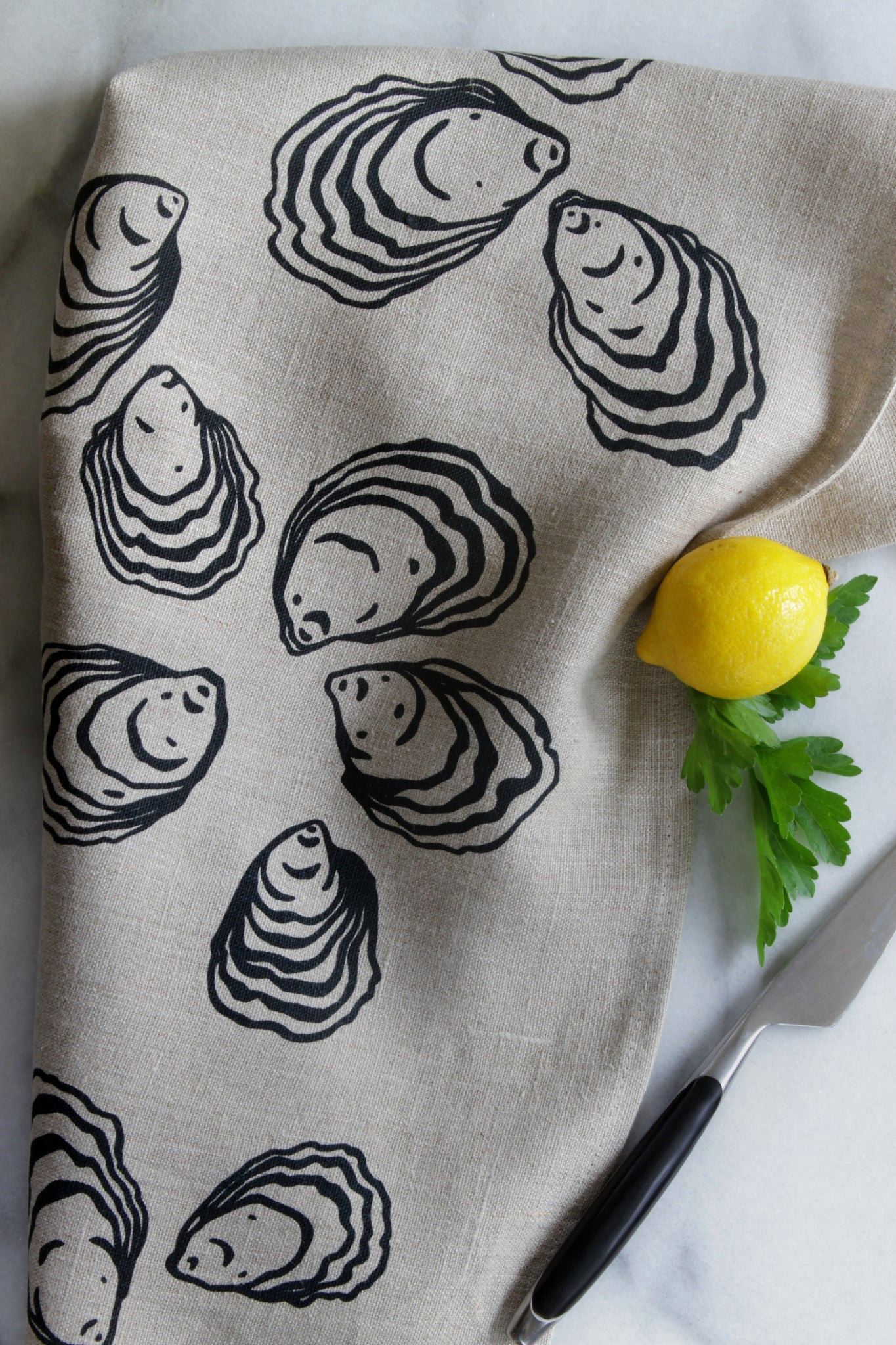 Oyster Kitchen Towel in Black on Natural Linen