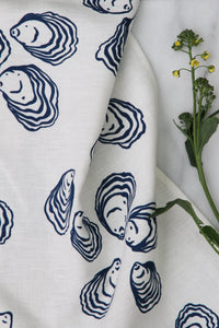 Oyster Kitchen Towel in Navy on White Linen