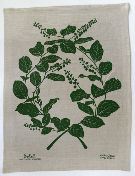 Salal Kitchen Towel in Forest Green on Natural Linen