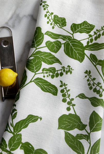 Salal Kitchen Towel in Leaf on White Linen