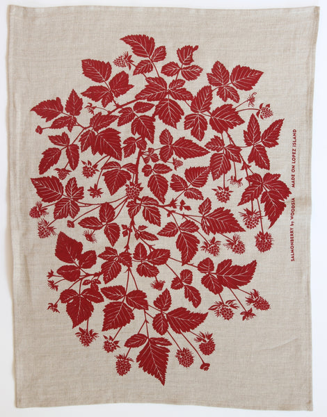 Salmonberry Kitchen Towel in Berry on Natural Linen