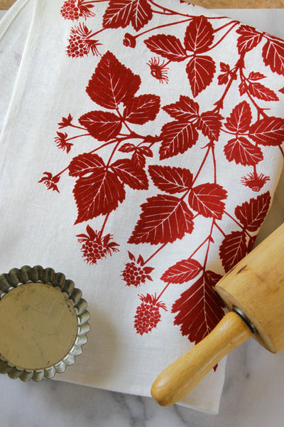 Salmonberry Kitchen Towel in Berry on White Linen