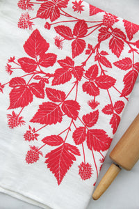 Salmonberry Kitchen Towel in Peony on White Linen