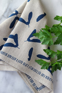 Samara Kitchen Towel in Indigo on Natural Linen
