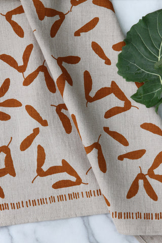 Samara Kitchen Towel in Ochre on Natural Linen