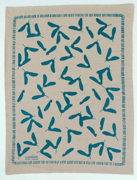 Samara Kitchen Towel in Pool on Natural Linen