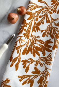 Seaweed Fucus Kitchen Towel in Ochre on White Linen