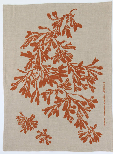 Seaweed Kitchen Towel in Ochre on Natural Linen