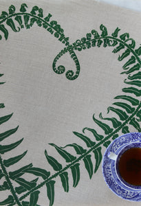 Sword Fern Kitchen Towel in Hunter on Natural Linen
