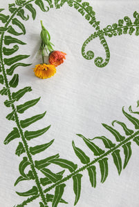 Sword Fern Kitchen Towel in Leaf on White Linen