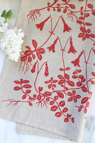 Twinflower Kitchen Towel in Coral on Natural Linen