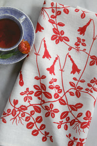 Twinflower Kitchen Towel in Coral on White Linen