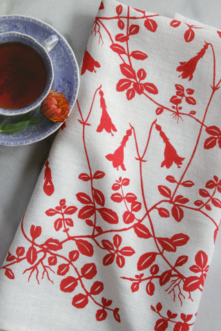Twinflower Kitchen Towel in Coral