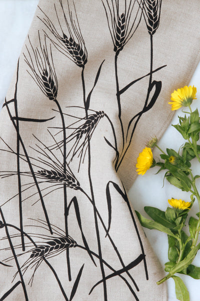 Wheat Kitchen Towel in Black on Natural Linen