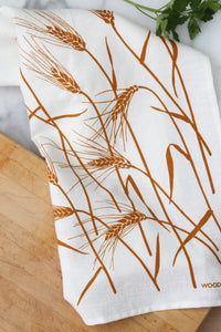 Wheat Kitchen Towel in Toast on White Linen