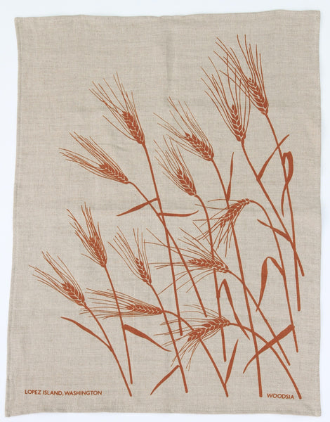 Wheat Kitchen Towel in Toast on Natural Linen