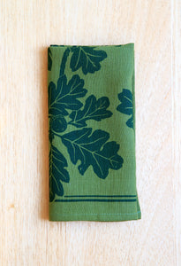 Oak Napkin - Green Linen - Hunter Green Ink