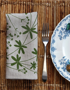 Bedstraw Napkin in Leaf Green on Natural Flax Linen