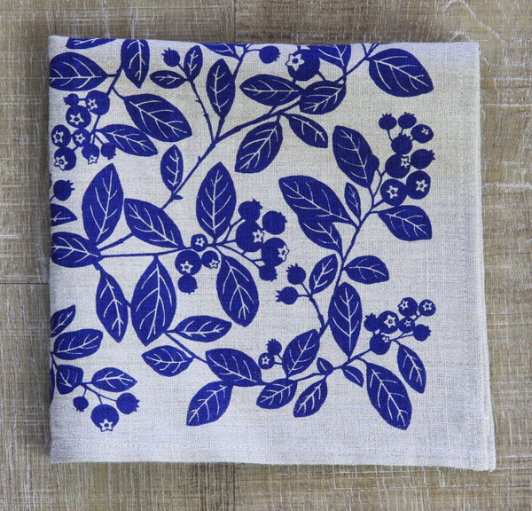 Blueberry Napkin in Blueberry Pie Blue on Natural Flax Linen