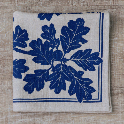 Garry Oak Napkin in Navy on Natural Flax Linen