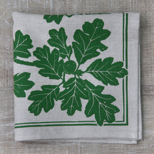Garry Oak Napkin in Pine Green on Natural Flax Linen