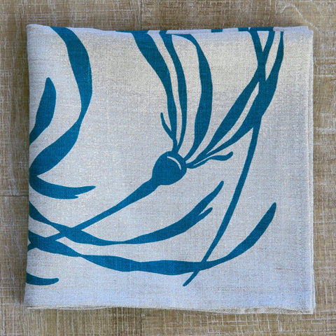 Kelp Napkin in Pool on Natural Flax Linen