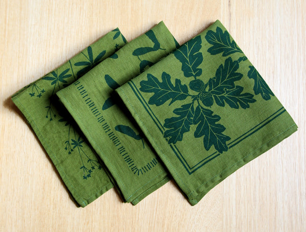 Samara Napkin in Hunter Green Ink on Green Linen