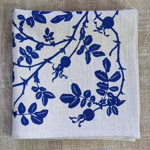 Nootka Rose Napkin in Indigo