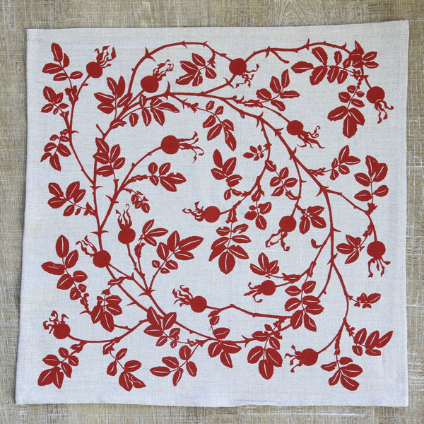 Nootka Napkin in Rose Hip Red on Natural Flax Linen