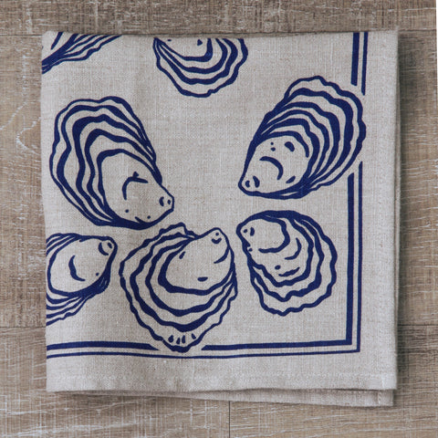 Oyster Napkin in Navy on Natural Flax Linen