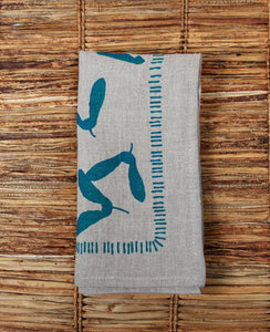 Samara Napkin - Natural Flax Linen - Teal Ink