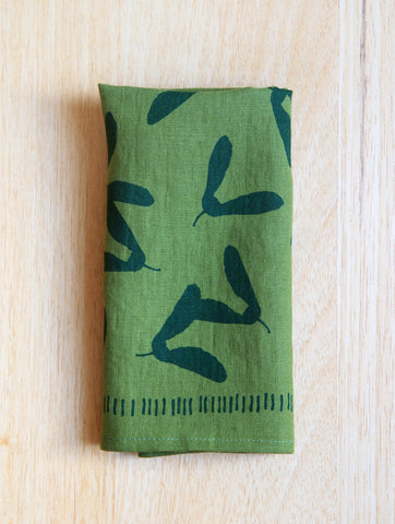 Samara Napkin - Green Linen - Hunter Green Ink