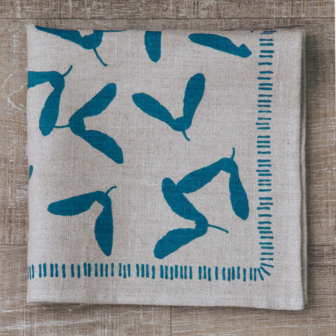 Samara Napkin in Pool on Natural Flax Linen