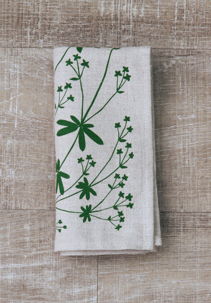 Bedstraw Napkin in Pine Green on Natural Flax Linen