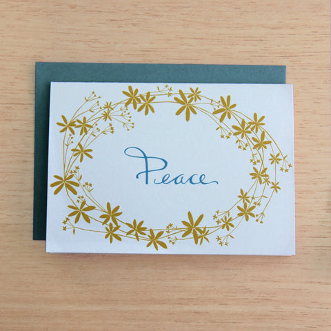 4 Bedstraw Peace Notecards in Sea Foam & Gold