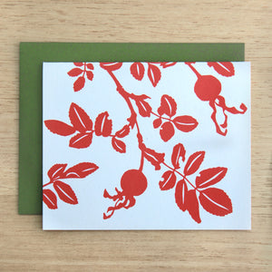 4 Nootka Rose Notecard in Red