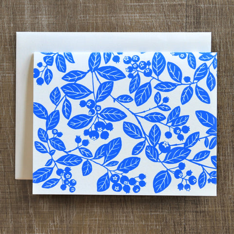 6 Bluberry Notecards in Two Blues