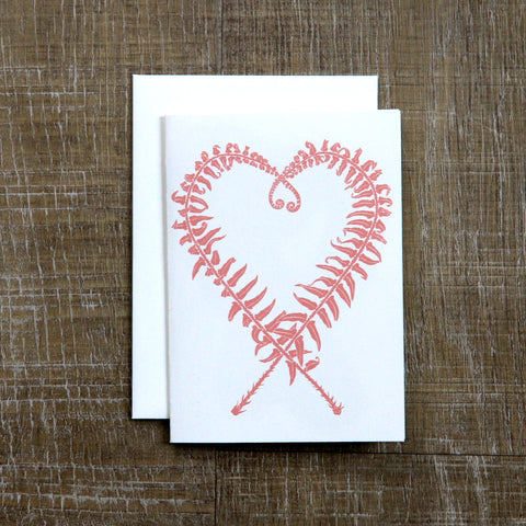Sword Fern Heart Mother's Day Notecard (enclosed message)