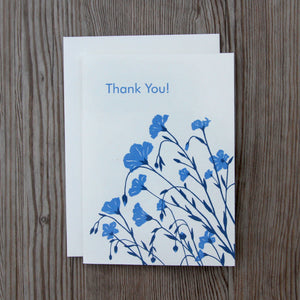 6 Flax 'Thank You' Notecard in Flax Blue