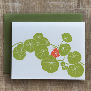 6 Nasturtium Notecards in Spring Green