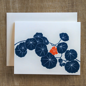 6 Nasturtium Notecards in Two Blues