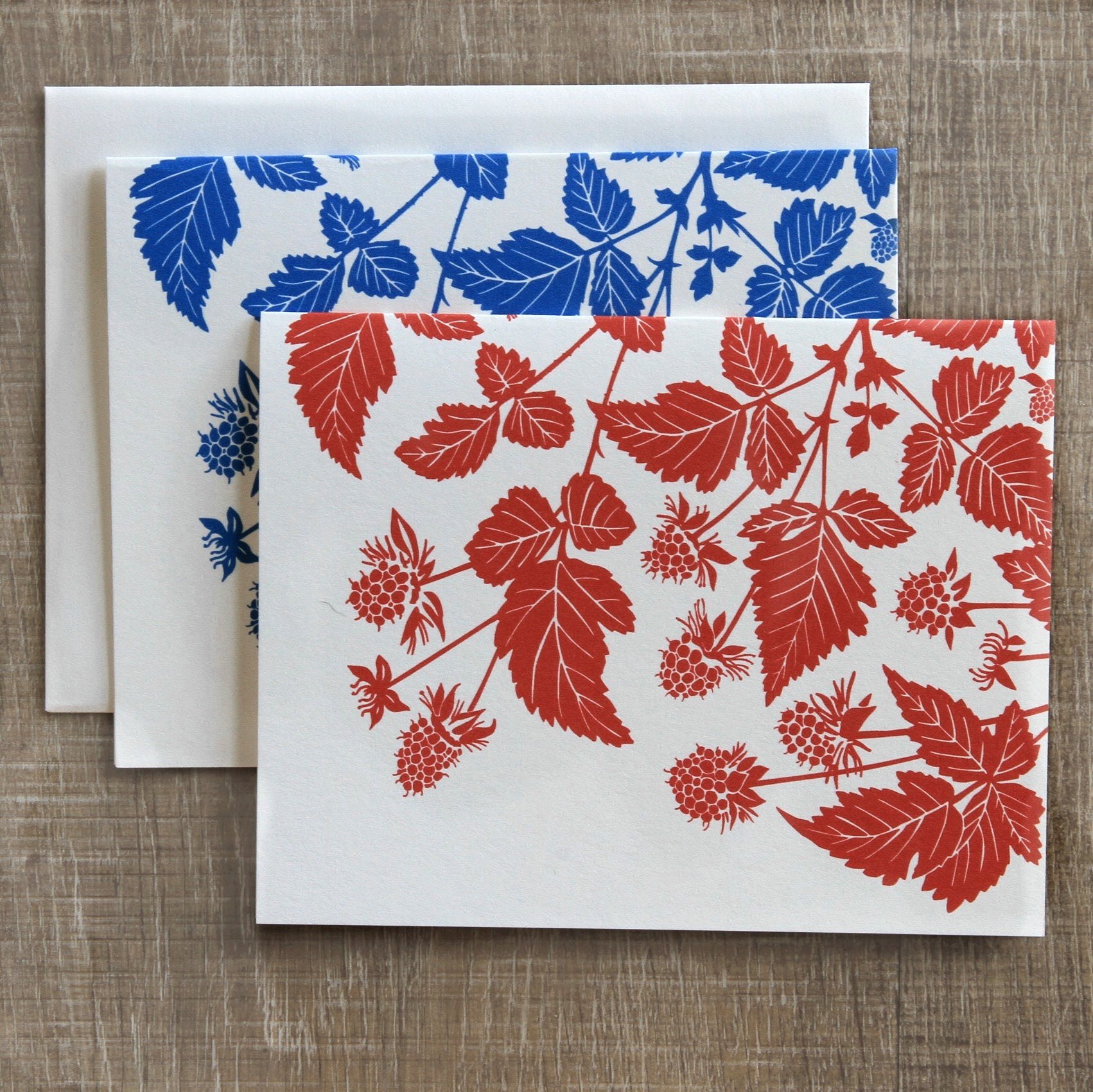 6 Salmonberry Notecards in Berry & Blue